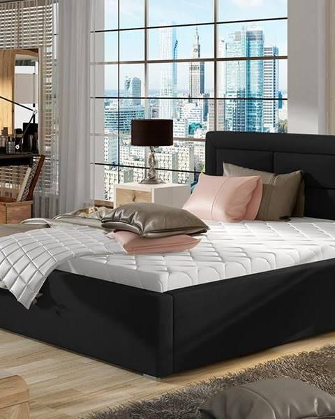 NABBI Rovigo 180 čalúnená manželská posteľ s roštom čierna