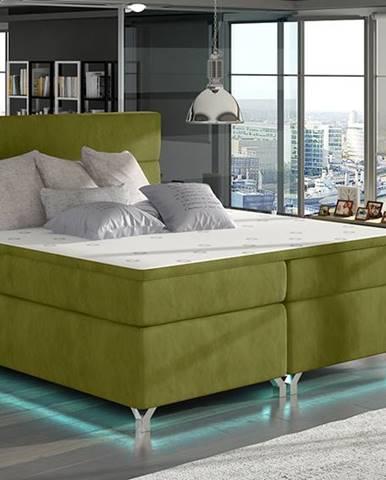 Avellino 140 čalúnená manželská posteľ s úložným priestorom zelená