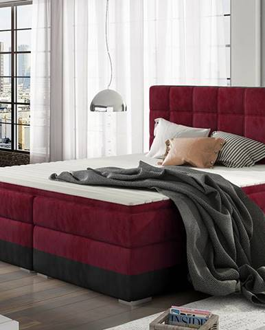 Dalino 140 čalúnená manželská posteľ s úložným priestorom bordová