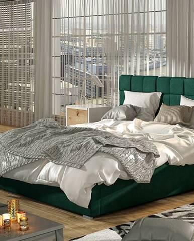 Galimo UP 140 čalúnená manželská posteľ s roštom tmavozelená