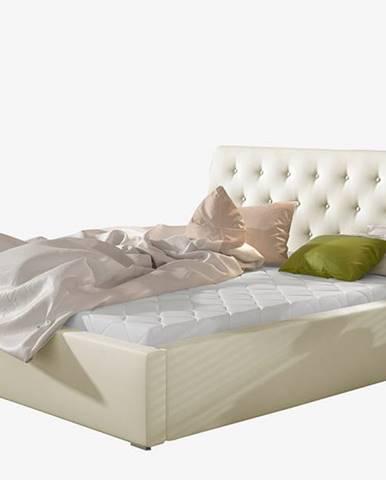 Monzo 160 čalúnená manželská posteľ s roštom béžová