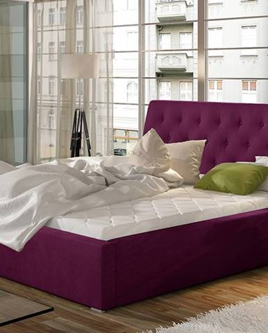 Monzo 160 čalúnená manželská posteľ s roštom vínová