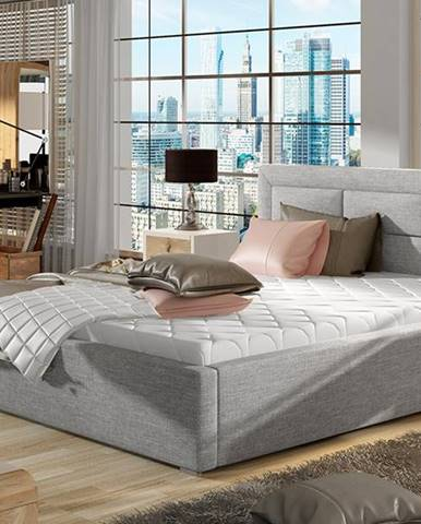 Rovigo 180 čalúnená manželská posteľ s roštom svetlosivá (Sawana 21)