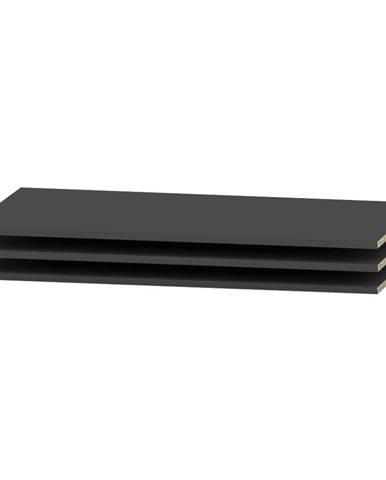 Siran police do šatníkovej skrine (3 ks) čierna