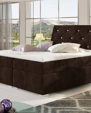 Beneto 140 čalúnená manželská posteľ s úložným priestorom tmavohnedá