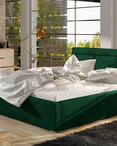 Branco 200 čalúnená manželská posteľ s roštom tmavozelená