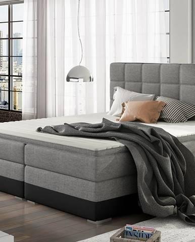 Dalino 180 čalúnená manželská posteľ s úložným priestorom svetlosivá