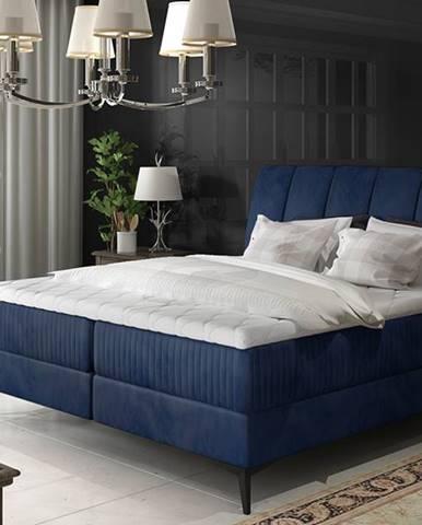 Altama 160 čalúnená manželská posteľ s úložným priestorom tmavomodrá