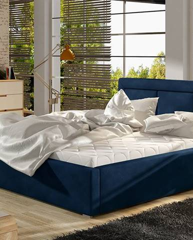 Branco 180 čalúnená manželská posteľ s roštom tmavomodrá