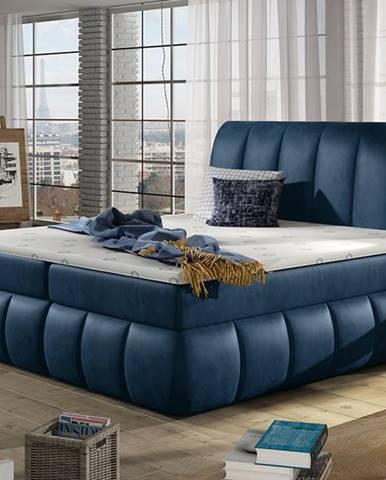 Vareso 180 čalúnená manželská posteľ s úložným priestorom tmavomodrá (Monolith 77)