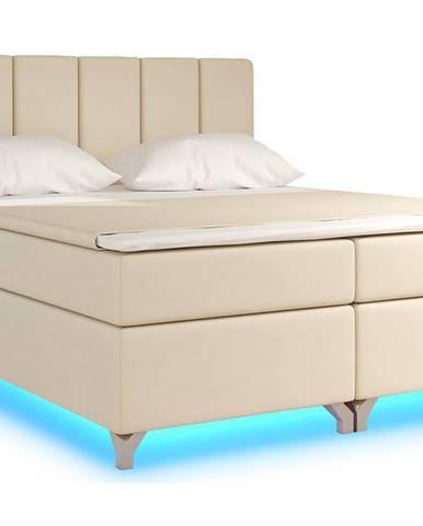 Barino 140 čalúnená manželská posteľ s úložným priestorom béžová (Soft 33)
