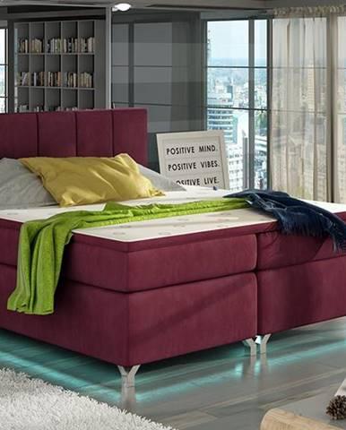 Barino 140 čalúnená manželská posteľ s úložným priestorom bordová