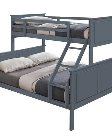 Nevil poschodová posteľ s roštami sivá