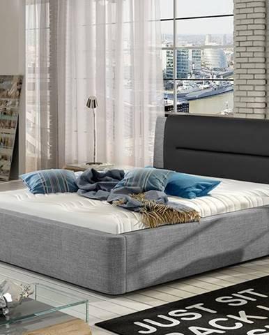 Portima 140 čalúnená manželská posteľ svetlosivá