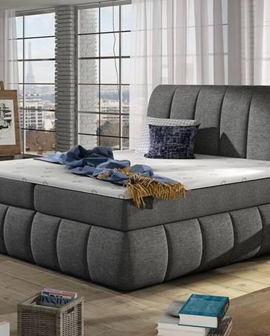 Vareso 180 čalúnená manželská posteľ s úložným priestorom sivá (Sawana 05)
