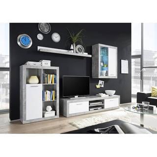 Klark obývacia stena s osvetlením biela
