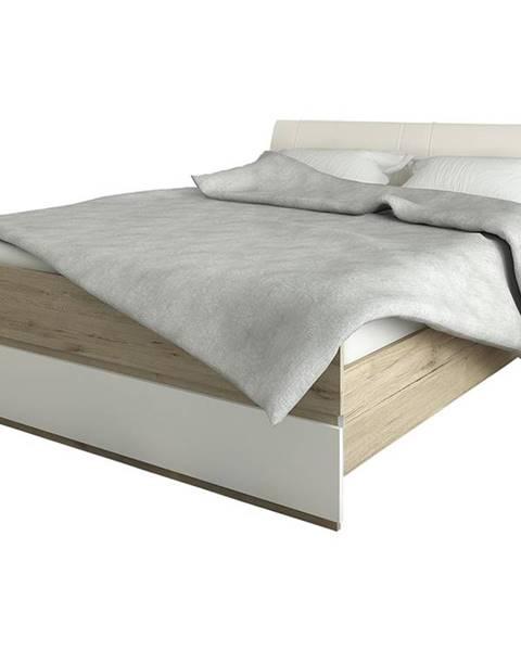 NABBI Leksand 160-L manželská posteľ s roštom dub wellington