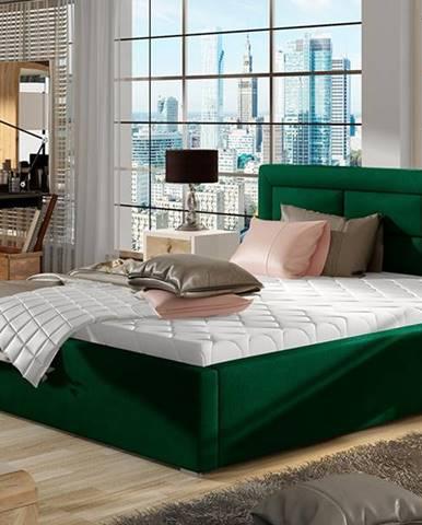 Rovigo UP 160 čalúnená manželská posteľ s roštom tmavozelená