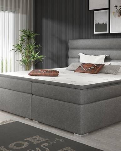 Spezia 160 čalúnená manželská posteľ s úložným priestorom sivá