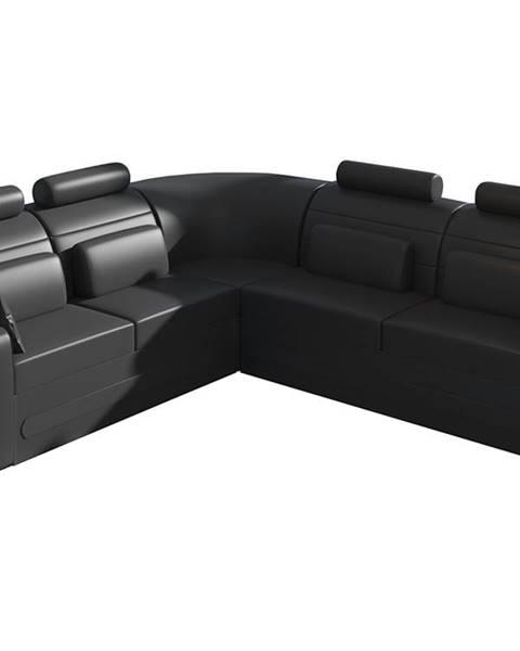 NABBI Bolzano L rohová sedačka s rozkladom a úložným priestorom čierna (Soft 11)
