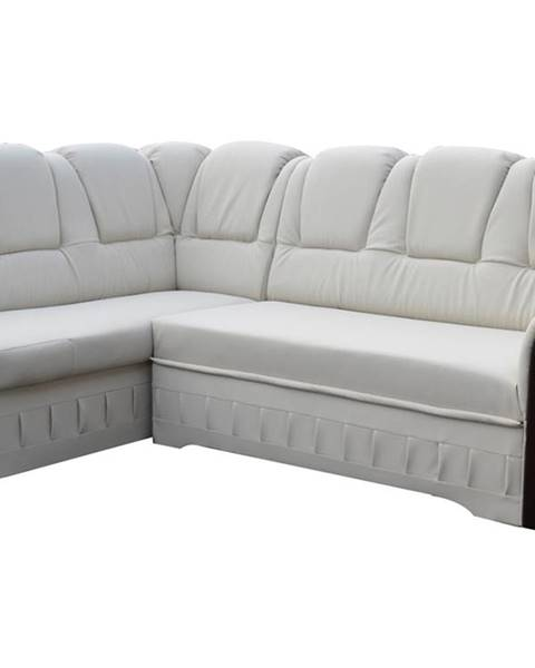 NABBI Latino L rohová sedačka s rozkladom a úložným priestorom biela