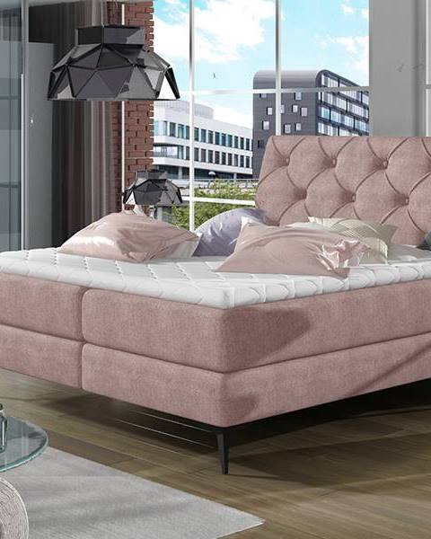 NABBI Lazio 140 čalúnená manželská posteľ s úložným priestorom ružová (Omega 91)