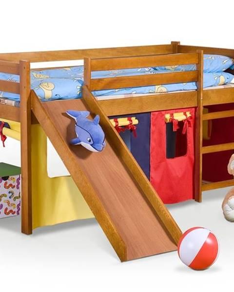 Halmar Neo Plus 80 drevená poschodová posteľ s roštom a matracom jelša