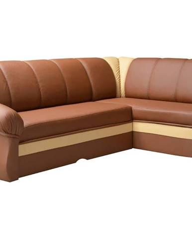 Belluno P rohová sedačka s rozkladom a úložným priestorom hnedá
