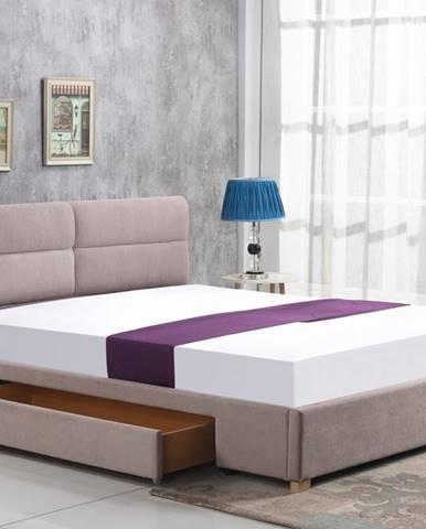 Merida 160 čalúnená manželská posteľ s roštom béžová