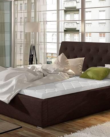 Monzo 180 čalúnená manželská posteľ s roštom tmavohnedá (Sawana 26)