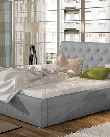 Monzo UP 200 čalúnená manželská posteľ s roštom svetlosivá (Paros 05)