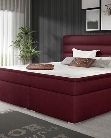 Spezia 140 čalúnená manželská posteľ s úložným priestorom vínová