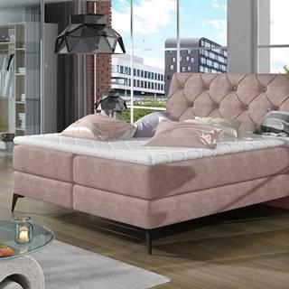 Lazio 140 čalúnená manželská posteľ s úložným priestorom ružová (Omega 91)