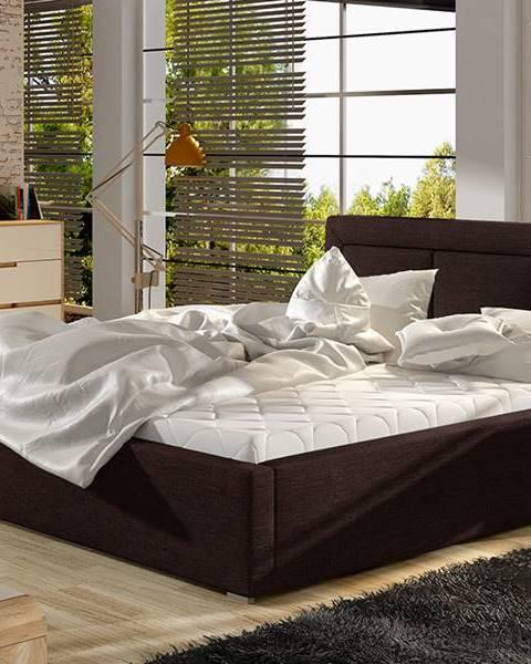 NABBI Branco UP 180 čalúnená manželská posteľ s roštom tmavohnedá (Sawana 26)