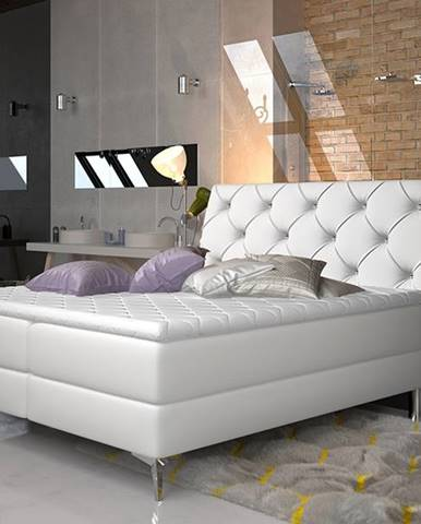 Amika 180 čalúnená manželská posteľ s úložným priestorom biela