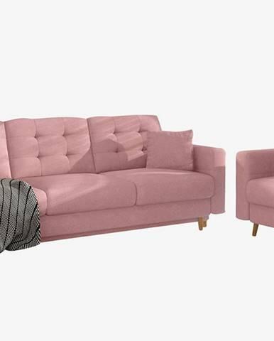 Aveza 3+1 rozkladacia sedacia súprava ružová
