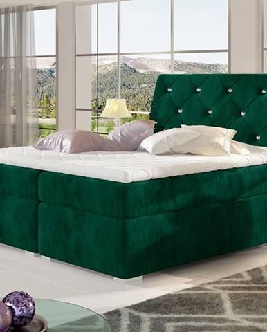 Beneto 140 čalúnená manželská posteľ s úložným priestorom tmavozelená
