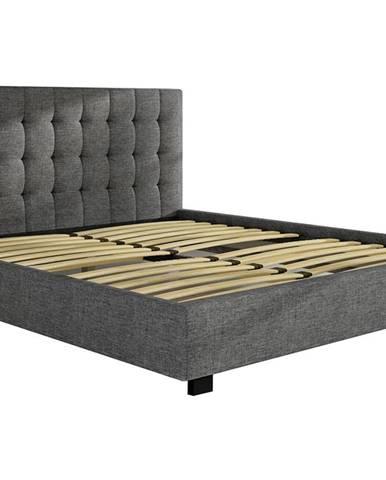 Maren 140 čalúnená manželská posteľ s roštom svetlosivá