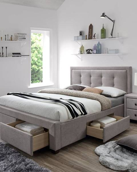 Halmar Evora 160 čalúnená manželská posteľ s roštom béžová
