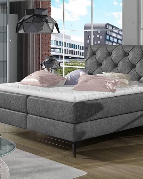 NABBI Lazio 160 čalúnená manželská posteľ s úložným priestorom čierna (Dora 96)