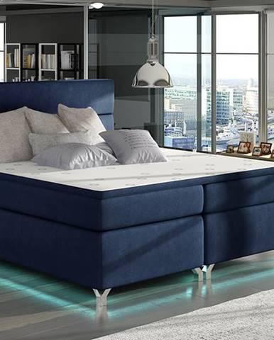 Avellino 180 čalúnená manželská posteľ s úložným priestorom tmavomodrá