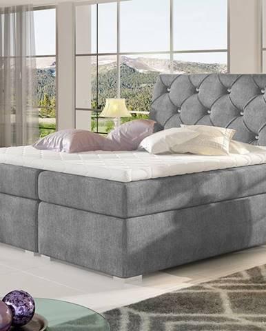 Beneto 140 čalúnená manželská posteľ s úložným priestorom tmavosivá (Omega 13)