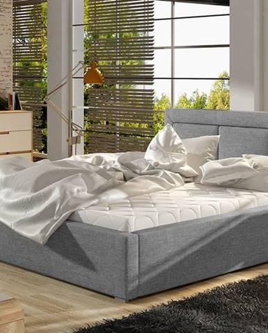Branco 200 čalúnená manželská posteľ s roštom svetlosivá (Sawana 21)