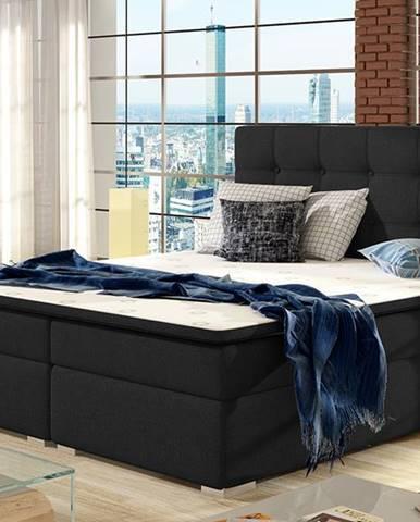 Isola 140 čalúnená manželská posteľ čierna (Sawana 14)