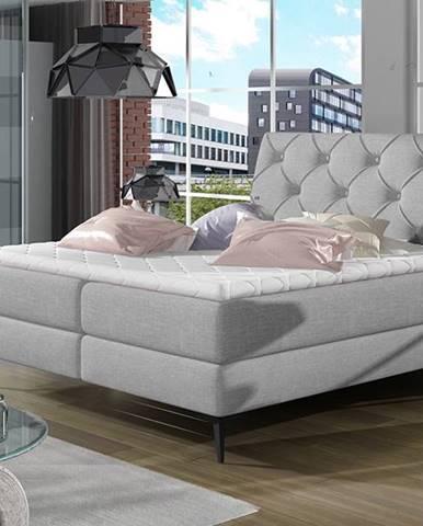 Lazio 160 čalúnená manželská posteľ s úložným priestorom svetlosivá