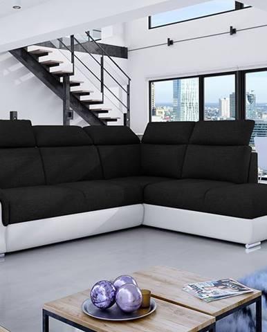Leren P rohová sedačka s rozkladom a úložným priestorom čierna