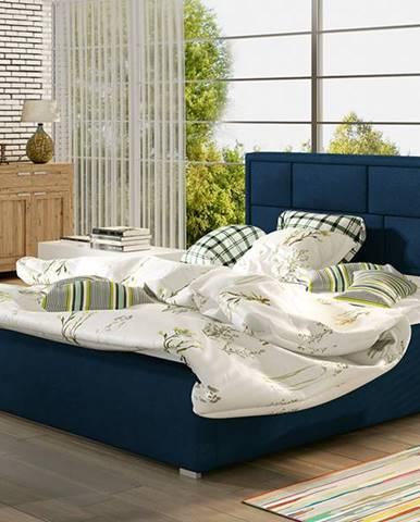 Liza UP 140 čalúnená manželská posteľ s roštom tmavomodrá