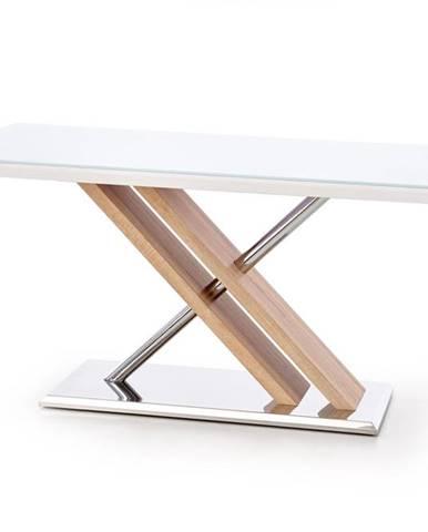 Nexus sklenený jedálenský stôl biely lesk