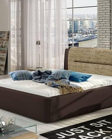Portima 140 čalúnená manželská posteľ tmavohnedá