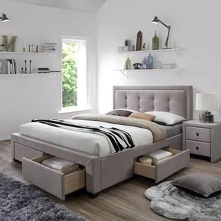 Evora 160 čalúnená manželská posteľ s roštom béžová